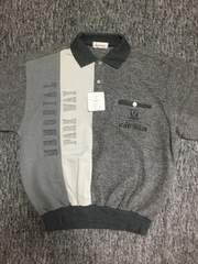 男性用 グレー系 長袖ポロシャツトレーナー 異素材MIX Lサイズ