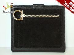 サルバトーレフェラガモ 2つ折り財布 ガンチーニ 黒 レザー×スエード