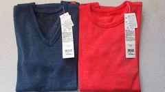激安53%オフヒートテック、発熱長袖インナー2枚(新品タグ、紺赤、日本製、メンズM)