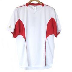 新品●定価3240円 adidas 白×赤VネックトレーニングTシャツ(S)