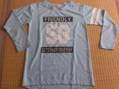 新品★長袖 プリント ロンTシャツ 水色150