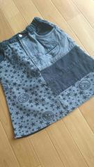 CHUCHUM★130�p★星&ロゴ♪デニムスカート★