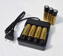 【即納】4本用充電器+18650リチウムイオン充電池4000mAh 4本付