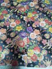 ☆処分品新品黒×牡丹扇子御所車金折鶴和柄ダボシャツ150