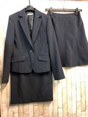 新品☆7号スカート2種付スーツ紺ストライプオールシーズンj349