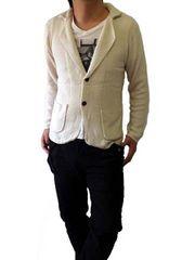 コットンタッチニットテーラードジャケットMホワイト白white新品※2点送料無料