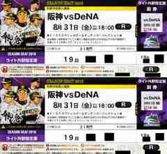 8/31(金)阪神vs横浜ライト外野指定席19段ペアー通路席