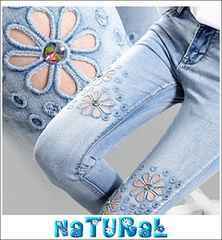 大きいサイズ【31】2L3L Flower刺繍ホール&ビジュ付デニム/ウォッシュ/七分丈