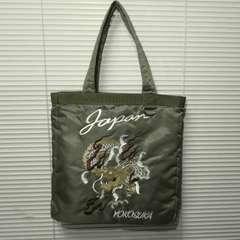 スカジャン風刺繍入りトートバッグ 横須賀/龍KHAKI