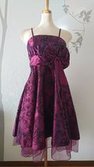 XL ミディアムドレス ワインレッド フレア リボン 新品 E1635