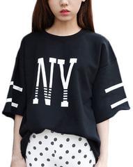 大幅値引★超人気ゆったりカッコ可愛い半袖Tシャツ 黒M