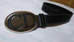 正規未 ディオール オーバルシルバーCDロゴバックルベルト 黒 80 メンズ Dior Homme