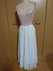 23中古オフホワイトシフォンプリーツロングスカート