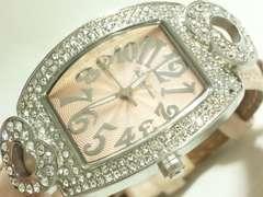 8632/イタリアブランドピンクカラーダイヤルキラキラベゼルレディース腕時計素敵