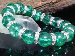 ダークグリーンクラック水晶12ミリ銀ロンデル数珠