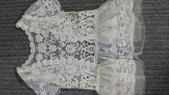 クロシェ編み羽織りレースリボンフェミニンベージュカーディガン