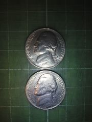 アメリカ5セント硬貨×2枚(1989年)♪