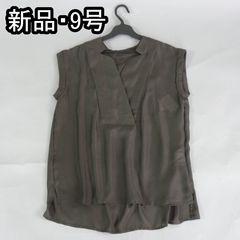 ゆる可愛い!★涼しげなシャツブラウス【新品★9号】送料170円