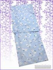 【和の志】夏の洗える着物◇絽Lサイズ◇水色系・小花◇RKL-2
