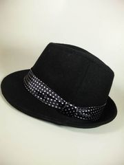 高品質ウール☆サテンタイドット巻き★BLACK-HAT♪