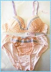 ☆ドットレース♪ブラ&ショーツセット B85 (ピンク)