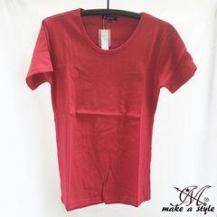 クルーネック フライス Tシャツ 半袖 TEE ワイン ワインレッド