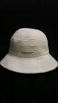 LANCEL〓ロゴ刺繍サマーニット編みサファリバケットハット〓ツバ付き日除け帽子〓白