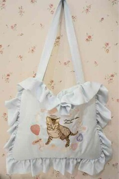 rosemarieseoir・ネコ刺繍サテンフリルトートバッグ。ブルー