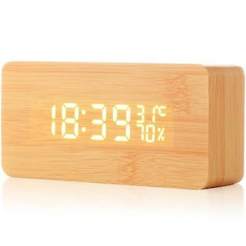 目覚まし時計 Acetek 置時計 温度湿度計 大音量 音声感知 USB給