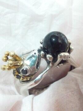 訳あり特価!立体 王冠 かえる 蛙 カエル オニキス シルバーリング 19号