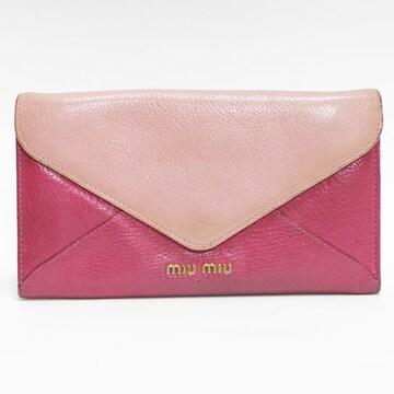 miumiuミュウミュウ 二つ折り長財布 レザー ピンク 良品 正規品