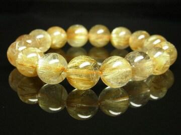 金運パワーストーン!!金針水晶数珠/ゴールドルチルクォーツ13mm数珠ブレスレット