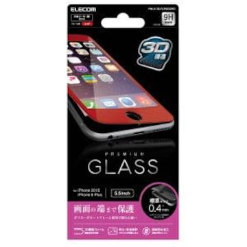 ☆ELECOM iPhone6,6s Plus用 液晶保護ガラス/フレーム付 レッド