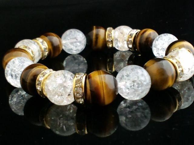 タイガーアイxクラック水晶金ロンデル12ミリ数珠 < 女性アクセサリー/時計の