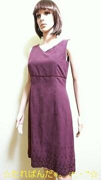 ☆PEYTON PLACE☆綺麗めスエード調の裾刺繍ワンピW67☆3点で即落