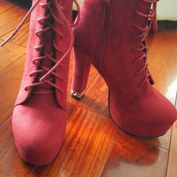 ショートブーツ赤ワインレッド編み上げヒモ厚底姫ブーティー