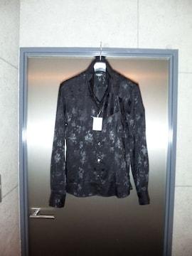 トルネードマート〓新品ジャガード織長袖シャツ〓黒/L