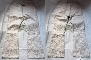 グッチ銀糸 刺繍レザー革パンツ48ブーツカットフレア ベルボトム
