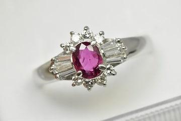 Pt850 ルビー 0.48ct ダイヤモンドリング 16号 指輪