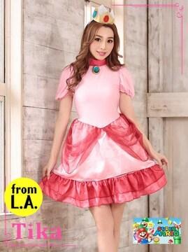 Tika☆ピーチ姫☆コスチューム☆ドレス☆3点set☆新品☆コスプレ☆仮装☆