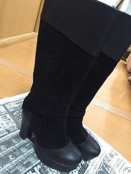 Ank Rouge☆黒☆ブラック☆ロングブーツ☆リボン付☆皮スエード