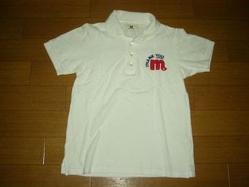 Mエム鹿の子ポロシャツS白ステッチ刺繍ロゴTMT