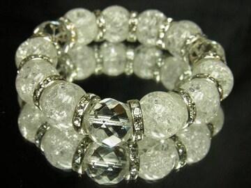 開運天然石!ダイヤカット水晶×クラック水晶数珠ブレス