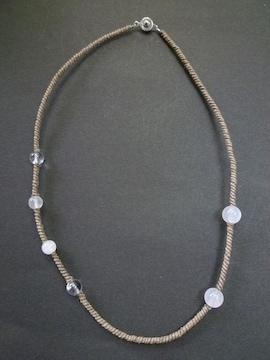 ムーンストーン 水晶 手編みネックレス