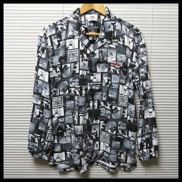 VISIONオープンカラー総柄フォトビッグシャツ/M