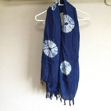 大判 和柄 ストール 紺 ネイビー 藍色 未使用 エスニック