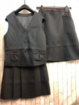 新品☆9号お仕事ベストスーツ2種スカート付き!黒オフィス☆n297