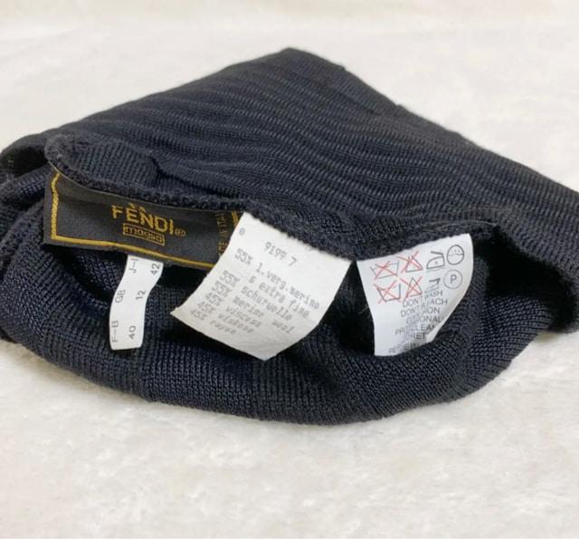 FENDI フェンディ 格子柄 シンプル ニット帽 ブラック < ブランドの