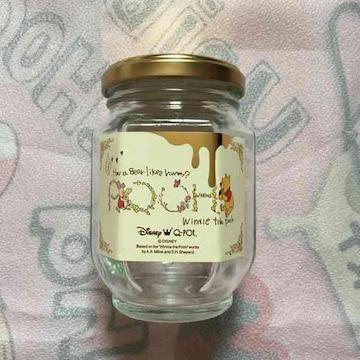Q−POT・非売品。アクセサリー保存用プーさん柄ラベルガラス瓶