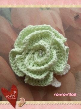ハンドメイド/手編み♪コットン編みお花のヘアゴム 1-191